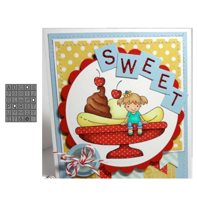 Cutting Dies Checkered Letter Mold Scrapbooking Embossing paper Card Stencils