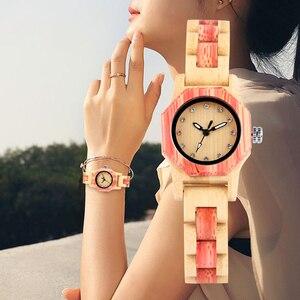 Image 5 - Vogue Octagonal Shape Wooden Watch Womens Crystal Diamond Dial Quartz Wristwatch Bamboo Wood Bracelet Hour Clock for Lady Girls