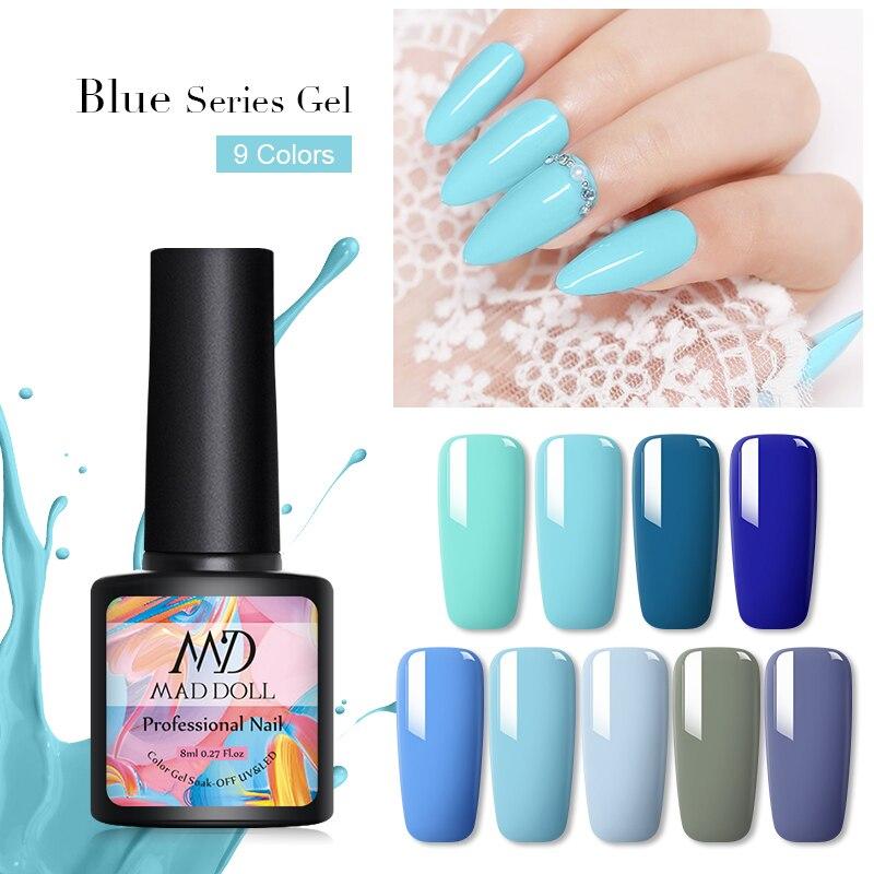 MD MAD DOLL 8ml Gel Polish Blue Series Soak Off UV Gel Varnish One-shot Color UV LED Nail Art Gel for Manicuring Decoration