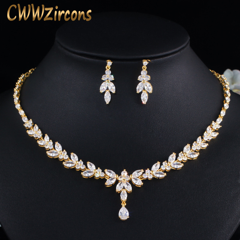 CWWZircons Top African Cubic Zirconia Leaf Drop Women Party Wedding Necklace Bridal Jewelry Set Dubai Gold Color Jewellery T442