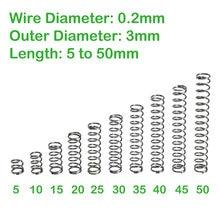 Comprimento exterior pequeno 5mm-50mm 0.2 mola de aço inoxidável do comprimento da pressão do diâmetro 3mm do fio da mola de compressão 304mm