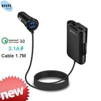 Quick Charge QC 3 0 Auto Ladegerät 4 Ports USB Auto Ladegerät 1 7 m Verlängerung Kabel für handy Samsung Xiaomi iPhone Auto Ladegerät-in Kfz-Ladegeräte aus Handys & Telekommunikation bei