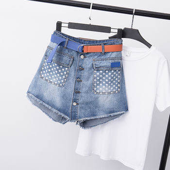 COIGARSAM 5XL Plus Size Fashion Denim Summer Women Shorts Light Blue 6907 pinkwin blue 5xl