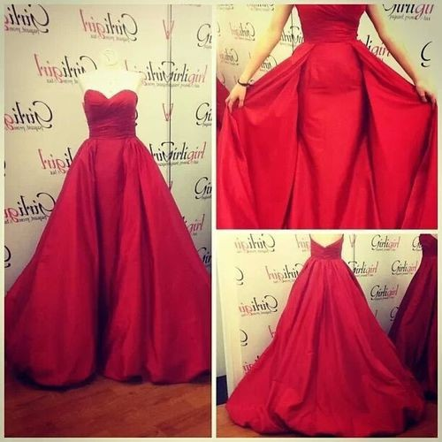 2016 Red A Line Formal Evening Dress Gown For Women Sweetheart Taffeta Curt Train Robe De Soiree Long Prom Dresses Actual Image