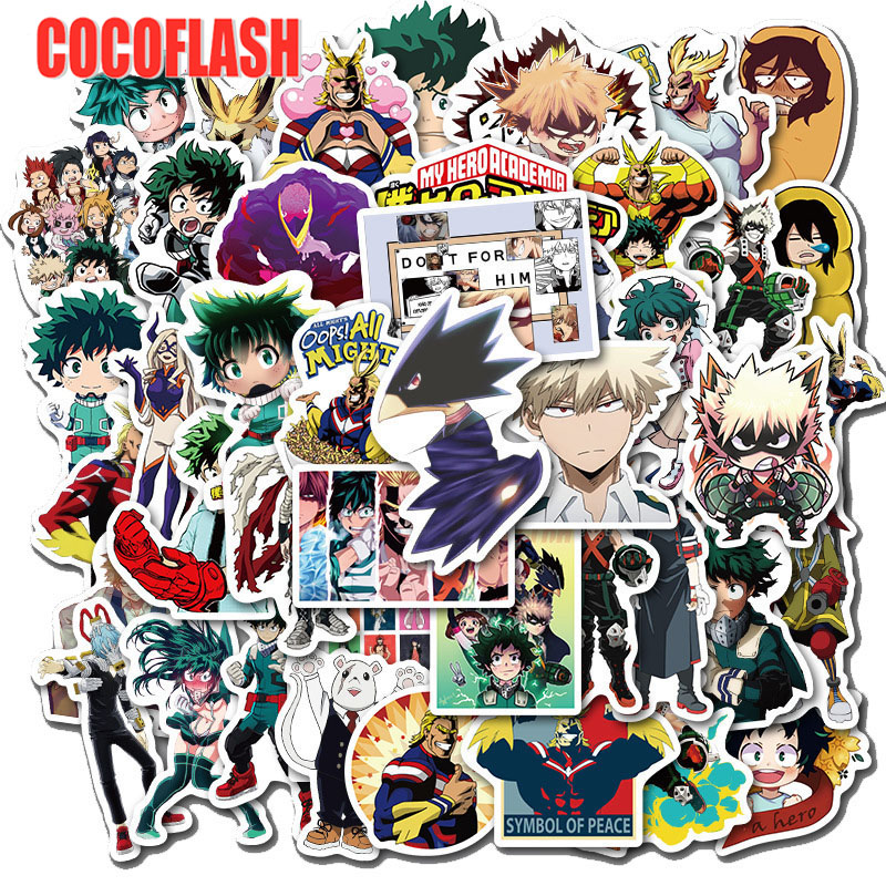 10/50pcs/pack My Hero Academia Anime Sticker Skateboard Waterproof Trolley Case Laptop Skateboard Stickers Toys Gifts For Kids
