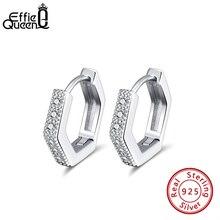 Effie Koningin Vrouw Kleine Hoop Earring 925 Sterling Zilver 12 Mm Met Aaaa Zirkoon Oorbel Sieraden Party Wedding Gift BE261