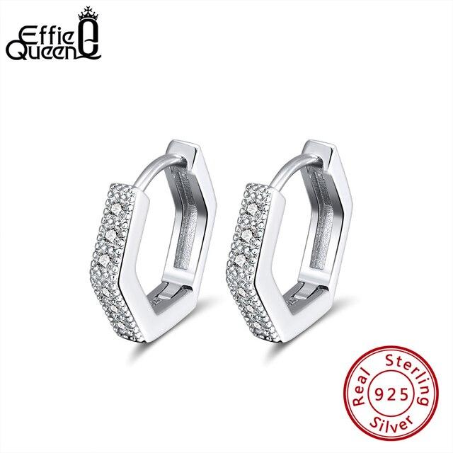 Женская фотография Effie Queen маленькая серьга кольцо Silver 12 мм с AAAA 925 пробы вечерние ний свадебный подарок BE261