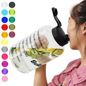 QuiFit Plastic Wide Mouth Big Drinking Water Bottles 2 5L 3 78L Gallon Jug BPA Free Sport Fitness Tourism GYM Travel Unique Item tanie i dobre opinie Z tworzywa sztucznego Dorosłych Butelki wody Zaopatrzony Ekologiczne QF1310 Direct Drinking Turystyka Nie posiada Brak