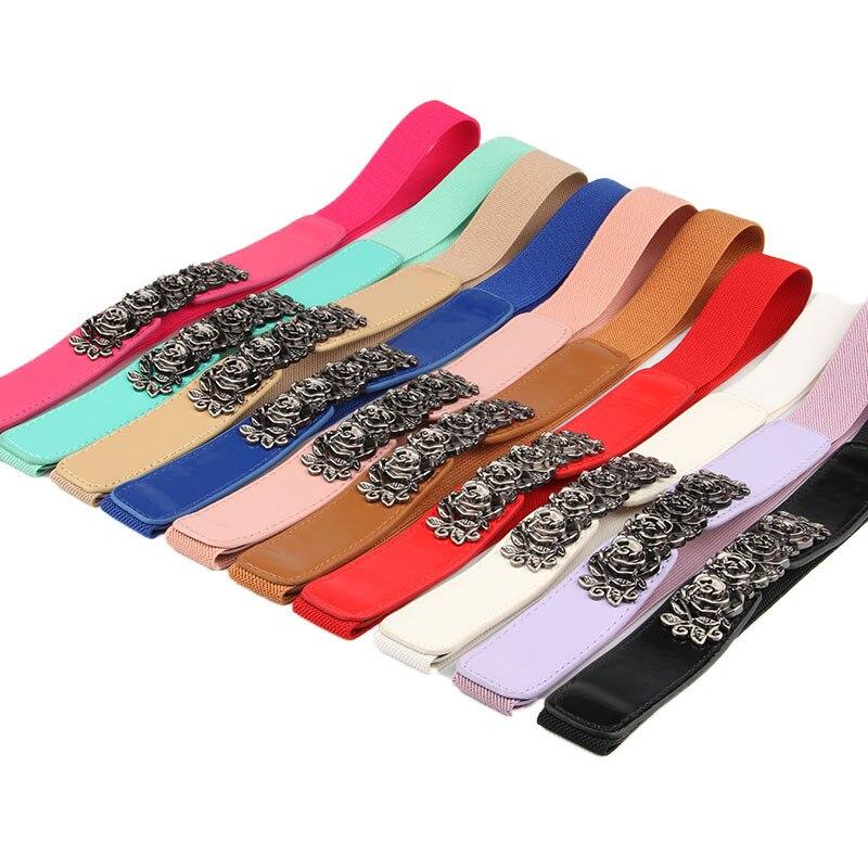 Women Ladies Girls Fashion Wide Waistbands Rose Metal Buckle Cummerbunds Stretchy Belts Elastic Waist Belt For Dress Sweater
