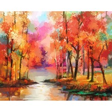Abstract Showy Woods Digital Acrylic Oil Painting on Canvas Handmade Wall Art	Landscape Picture Painting for Baby Room