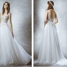 white chiffon long sexy backless appliques 2018 lace beach bride robe de mariage vestido de noiva br