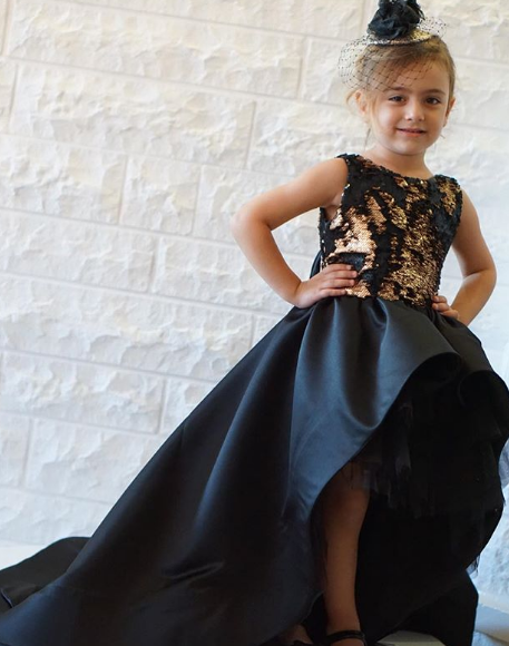 Black Girl First Birthday Dresses High Low Girls Celebrations Party Dresses Bow V Back Dresses Sweep Train Black And Gold Top