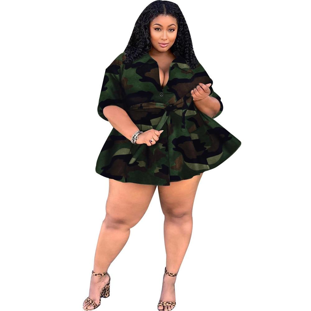 Zoctuo Women Turn-Down Collar Coats Camouflage Jackets Streetwear Sashes Plus Size Lady Jackets xxl xxxl xxxxl xxxxxl Clothes