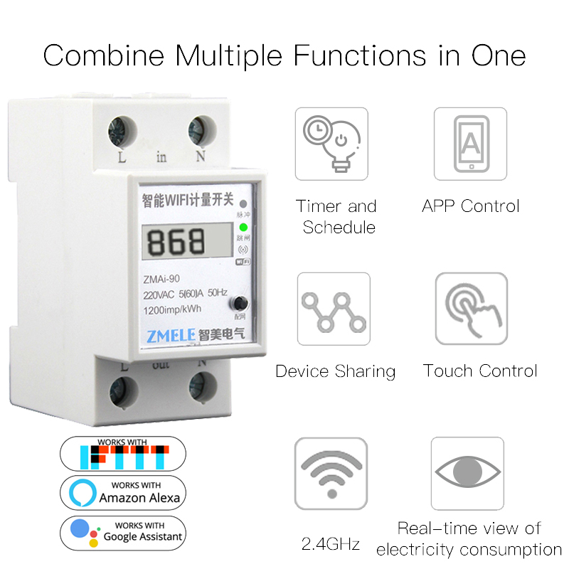 WiFi Smart Power Meter Switch Power Consumption Energy Monitoring Meter 16A Din Rail Smart Life/Tuya App Remote Control
