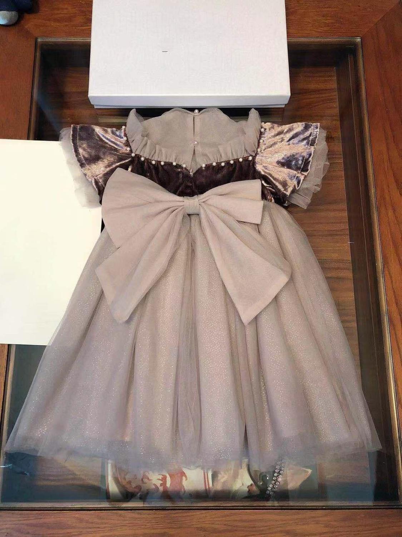 Conception de marque de luxe filles robe partie princesse robe perles détachable arc 3-7y