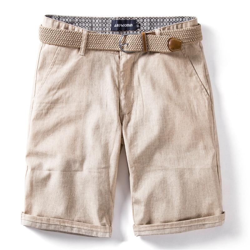 2020 New Summer 100% Cotton Linen Shorts Men Quality Knee Length Casual Mens Shorts Breathable Solid Color Short Pants Men