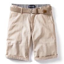 2020 New Summer 100% Cotton Linen Shorts Men Quality Knee Le