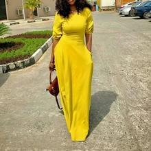 Yellow African Women Dress with Pockets Red 2020 Summer Autu