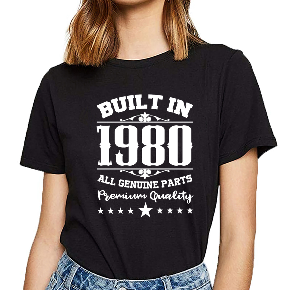 Tops T Shirt Women 1980 Bpng Design Black Cotton Female Tshirt