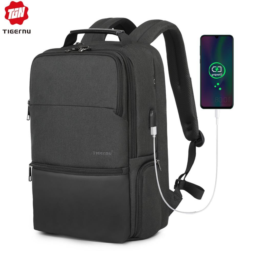 Tigernu New Man Backpack Waterproof Anti Theif Bagpack USB Recharging Multi-layer Space Male Bag RFID Lining Travel Backpack