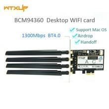Wtxup broadcom bcm94360 1300 mbps de banda dupla 802.11ac desktop pci e sem fio cartão pc adaptador wi fi bluetooth 4.0