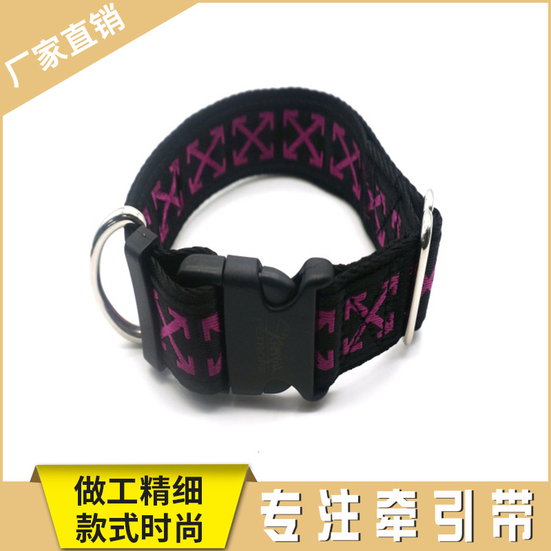 Hot Selling Dog Nylon Comfortable Type O-Ring Collar 3.2 Cm Jacquard Double Layer Dog Collar Sale