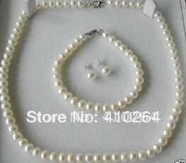 Потрясающая Бесплатная доставка 7 8 мм белый жемчуг ожерелье набор - 11.11_Double 11_Singles