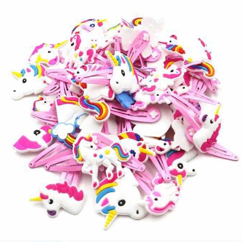 12 шт./лот, детская одежда для девочек Единорог Лошадь заколки для волос в виде симпатичных животных из ПВХ, Мультяшные заколочки для девочек ...