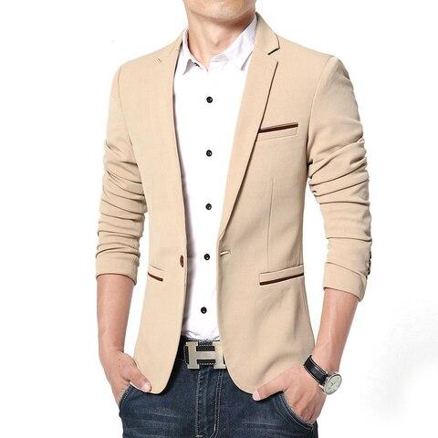 Plus Size 2019 Spring Autumn Luxury Men Blazer Fashion Casual Business Cotton Slim Fit Suit Jacket Male Blazer Masculino M-5XL Lahore
