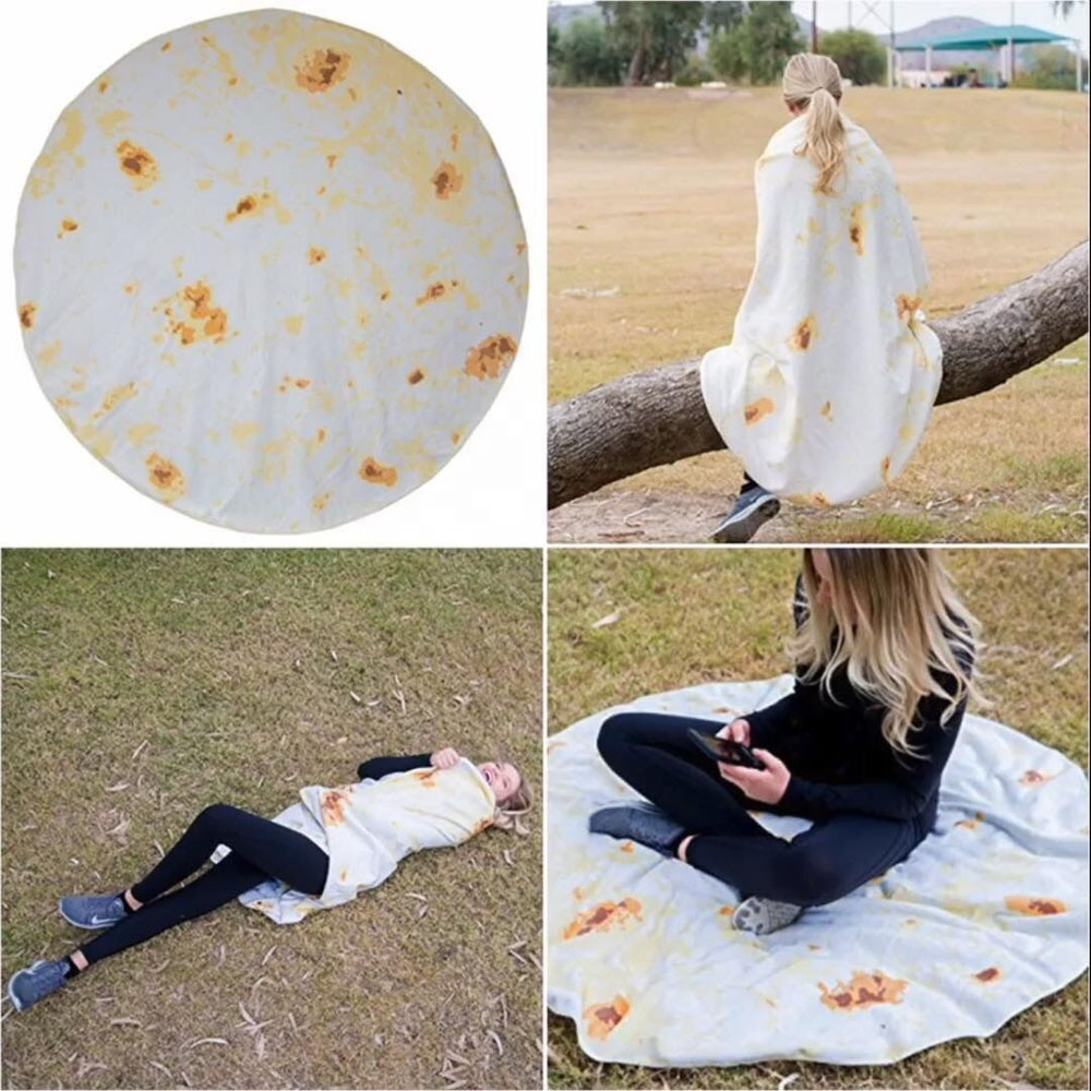 Tortilla Texture Soft Fleece Throw Blanket Printing Tortilla De Harina Burrito Blanket Round Shape Sofa Office Quilts Funny Gift
