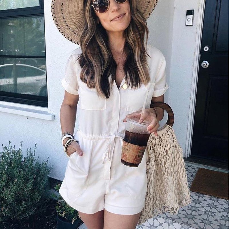 2020 New Fashion women cotton jumpsuits Solid Color V neck short slim short rompers elegent jumpsuits