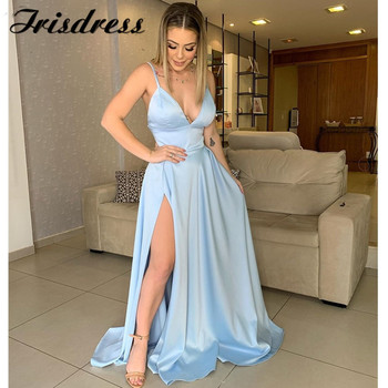 Sexy Spaghetti Straps Prom Dresses 2019 Long High Split Evening Dress A-line V-Neck Backless Formal Party robe de soiree