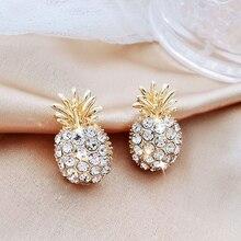 Dangle-Earrings Pearl-Cover Fruit-Pineapple Rhinestone Fashion Jewelry Women LATS