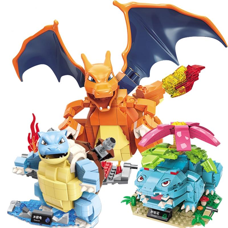 ENLIGHTEN Ideas Upgrade Charizard Venusaur Blastoise Pikachu Poke Elf Dolls Pocket Monsters Detective Building Blocks Creator