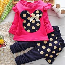 Minnie Mouse Clothes Set Kids Baby Girls spring and autumn Outfits Clothes T-shirt Tops Polka Dot Trousers autumn thanksgiving fall winter baby girls brown orange turkey outfits polka dot pant clothes ruffle boutique match accessories