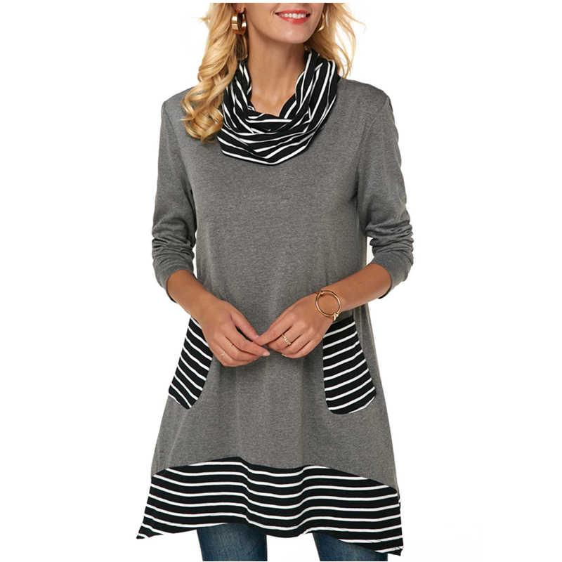 Женская одежда размера плюс, топы, футболка с длинным рукавом, хлопковая Свободная Повседневная футболка, водолазка, футболка в полоску с карманами, осенне-зимняя футболка