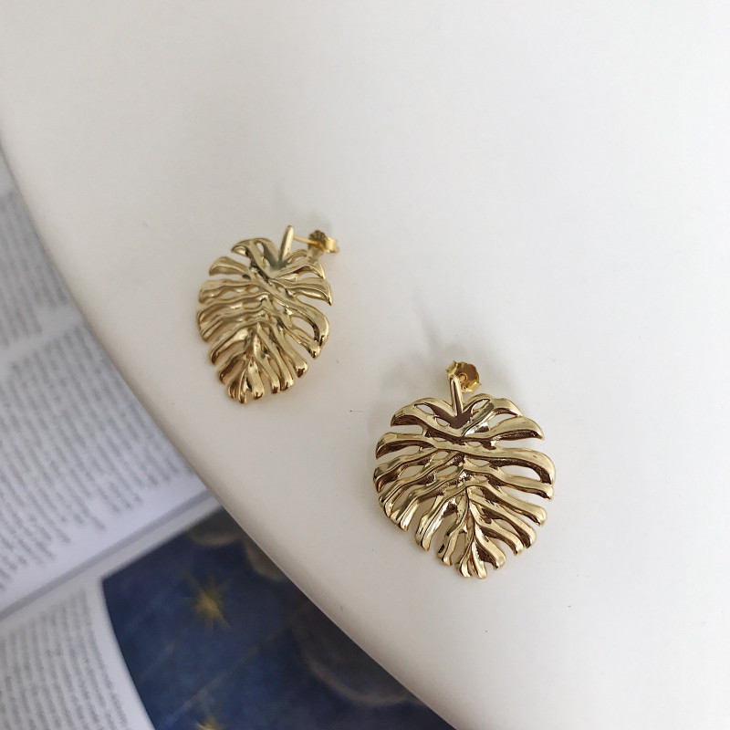 minimalist 1pair 100% Authentic 925 Sterling silver Gold Monstera Geometric Stud earrings all-match jEWELRY TLE886