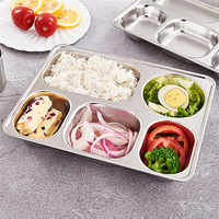 3/4/5 Sections High Quality Stainless Steel Divided Dinner Tray Lunch Container Food Plate for School Canteen