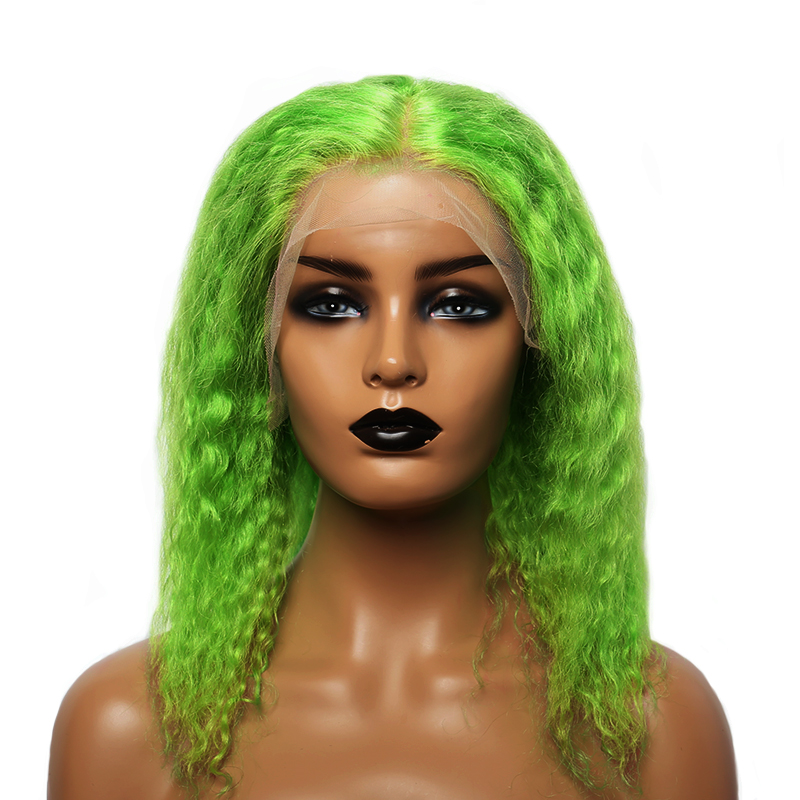 Green Lace Front Human Hair Wig 13x4 Transparent Lace Short Bob Curly Wig Brazilian Lace Frontal Wig Dolago Colorful Wig