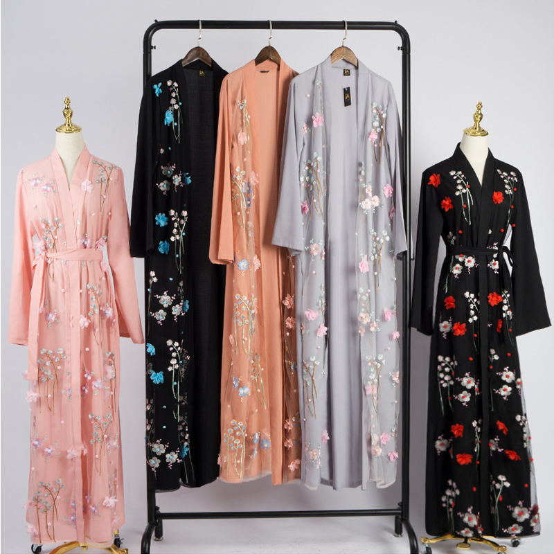 Floral Abaya Kimono Hijab Muslim Dress African Saudi Turkish Dresses Abayas For Women Kaftan Dubai Caftan Qatar Islamic Clothing