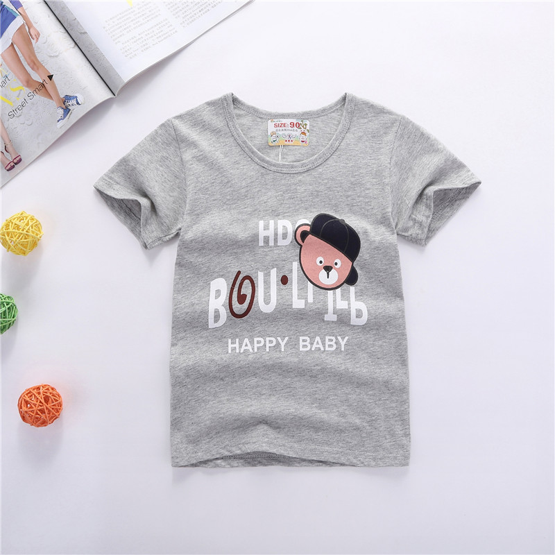Boys T-shirt Kids T Shirt Children Tees Grey Bear Cartoon Prints 100% Cotton Soft Boy Tops Casual Clothing Children Short Sleeve