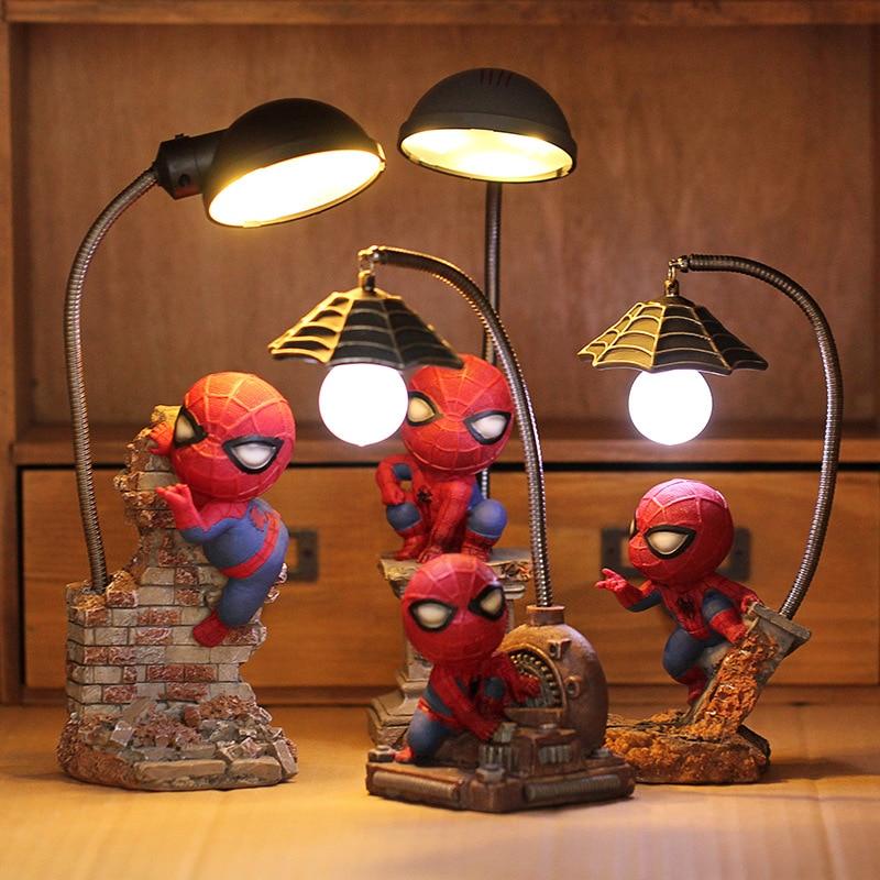 Cartoon Avengers Action Figures Spider Man Night Lamp Resin Children Bedroom LED Night Light For Boy Kids Xmas Creative Gift