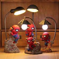 Cartoon Avengers Action-figuren Spinne Mann Nacht Lampe Harz Kinder Schlafzimmer LED Nacht Licht für Junge Kinder Weihnachten Kreative Geschenk