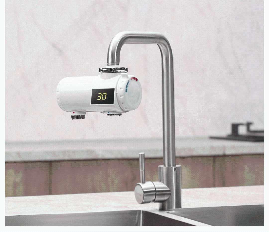 Xiaoda 220V 3000W électrique chauffe-eau robinet 3s rapide instantané chauffage salle de bains cuisine chaud froid mélangeur robinet LED affichage