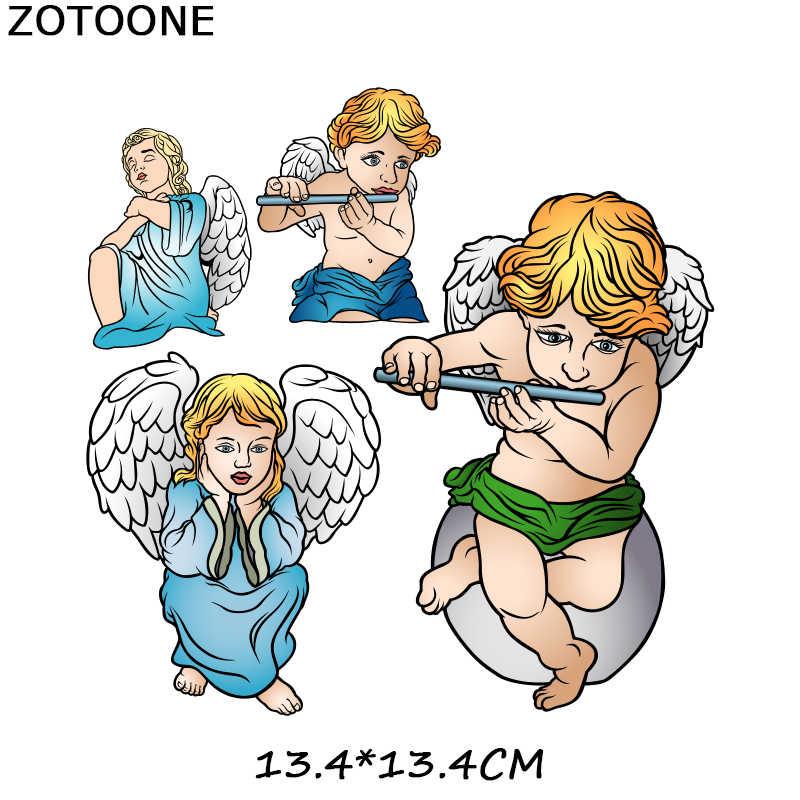 ZOTOONE Nette Amor Engel Jungen und Mädchen Patch Bügeln Wärme Transfer für Kleidung Eisen auf Transfer T-shirt DIY Herz Aufkleber O