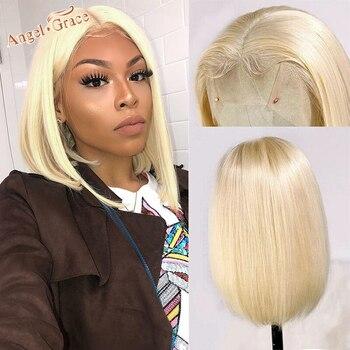 Anioł Grace 613 Blond prosto Bob peruki brazylijski peruka z krótkim bobem 13*1 T część peruki typu Lace z ludzkich włosów wstępnie oskubane Remy włosy Blond Bob peruki