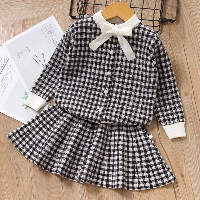Bear Leader Girls Dress 2020 Winter Geometric Pattern Dress Long Sleeve Girls Clothes Top Coat+ Tutu Dress Sweater Knitwear 2pcs