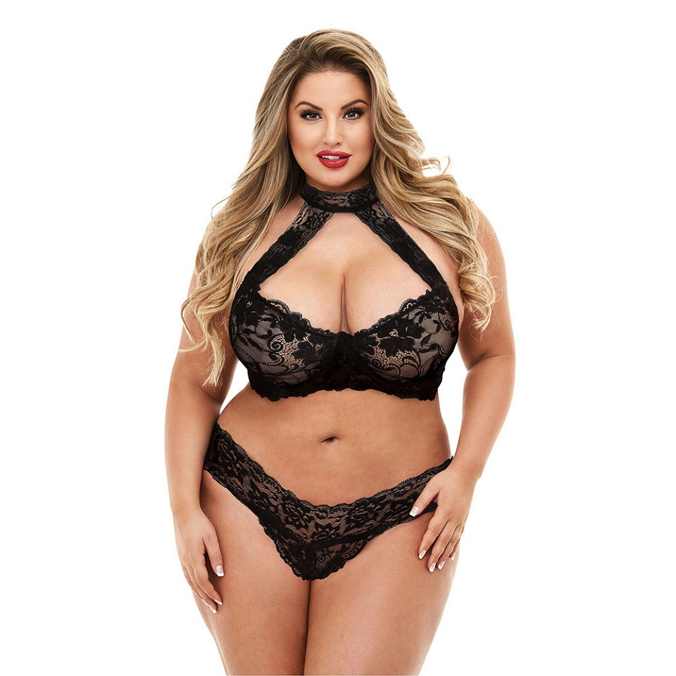 New Lingerie Sets Plus Size Women Sexy Underwear Hot Erotic Bra And Panties Halter Lace Suit For Fat Female 3XL - 5XL Sleepwear