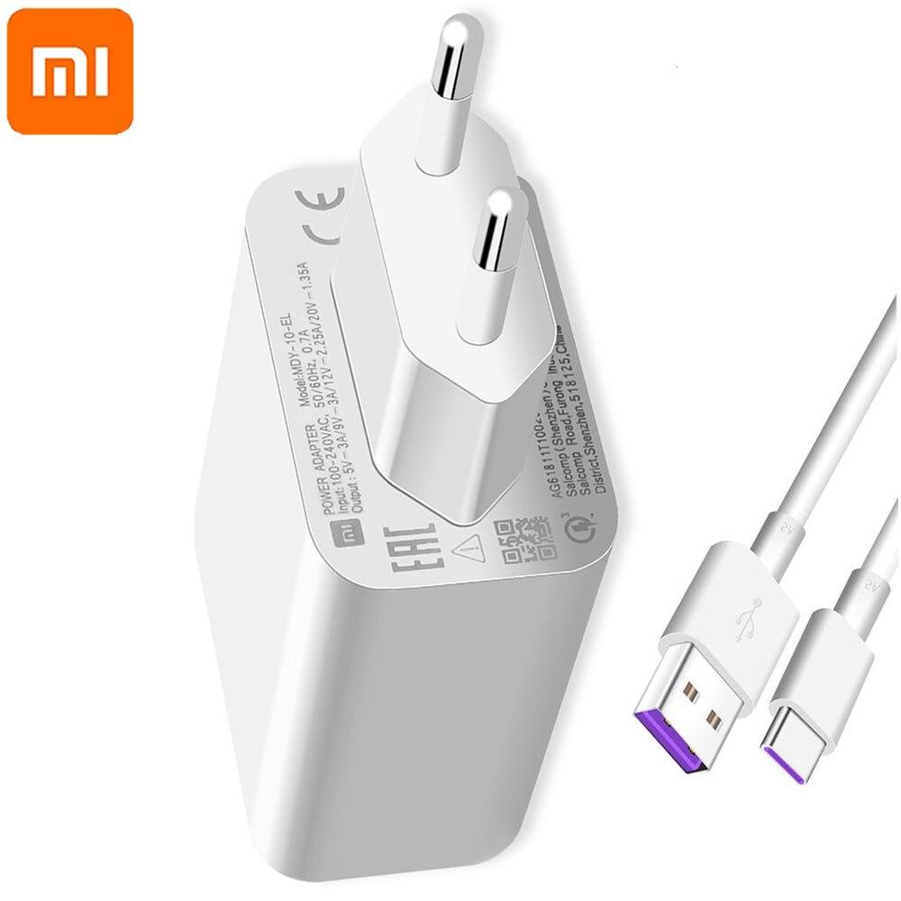 Original Xiaomi MDY-10-EL 27W cargador rápido carga turbo de la UE QC 4,0 adaptador para Mi9 9se 9T Nota 10 Redmi note 8T K20 K30 Pro