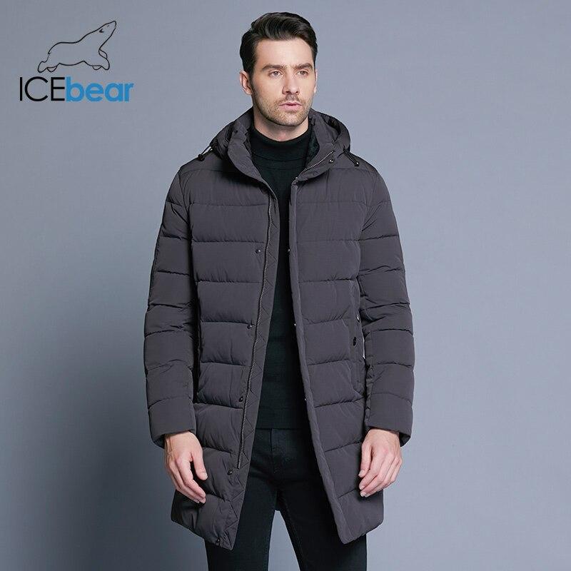 Erkek Kıyafeti'ten Parkalar'de ICEbear 2018 Kış Ceket Erkekler Şapka Ayrılabilir sıcak tutan kaban Rahat Parkas Pamuk Yastıklı Kış Ceket Erkek Giyim MWD18821D'da  Grup 1